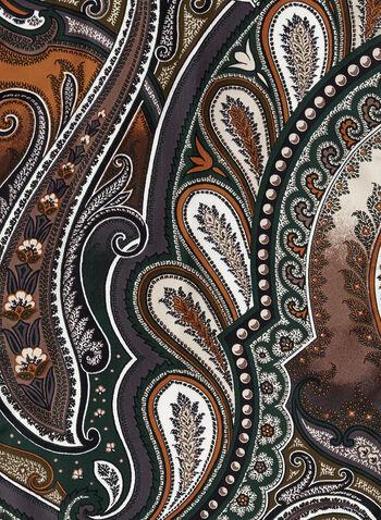 Paisley Print Silk Scarf, Grey, hi-res