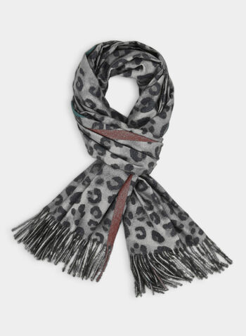 Leopard Print Scarf, Grey, hi-res,  fall winter 2019, scarf, leopard print, reversible