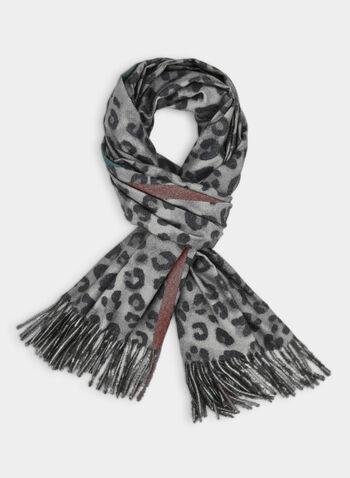 Écharpe réversible à motif léopard, Gris,  écharpe, réversible, léopard, uni, automne hiver 2019