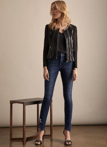 Frank Lyman - Jeans à ourlet ornementé, Bleu,  jeans, jambe étroite, perles, strass, coton, nœud, usé, printemps été 2020