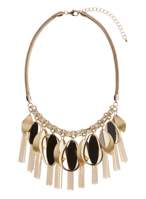 Geometric Leaf Bib Chain Necklace, Gold, hi-res