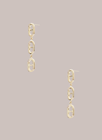 Tiered Oval Dangle Earrings, Gold,  jewellery, accessories, earrings, dangle, link, oval, chain, crystal, spring summer 2021