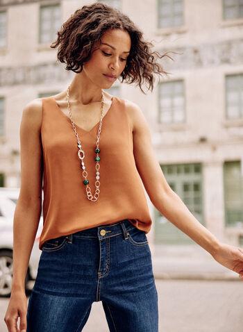 Sleeveless V-Neck Blouse, Beige,  fall 2021, satin, camisole, sleeveless, top, blouse, loose fit, v neck, fluid, soft, fabric, basic