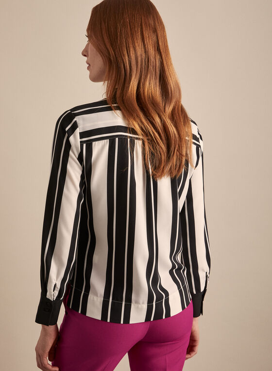 Striped Faux Wrap Blouse, Black