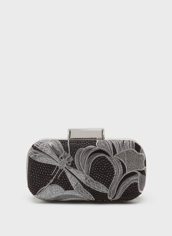 Hexagon Velvet Clutch, Black, hi-res