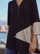 3/4 Sleeve Colour Block Tunic, Black