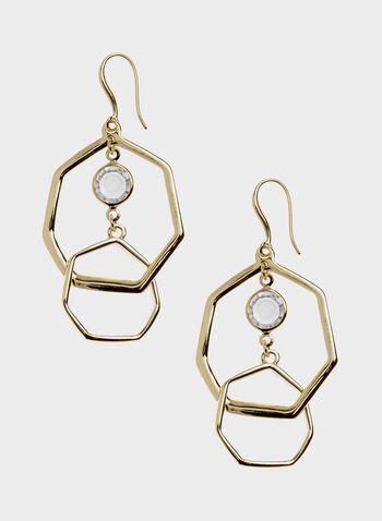 Double Heptagon Dangle Earrings, Gold, hi-res