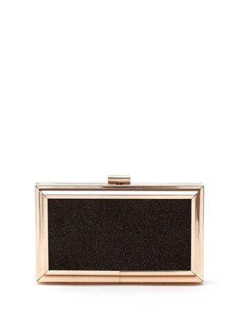 Metal Frame Box Clutch, Black, hi-res