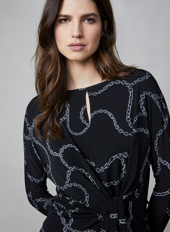 Chain Print Top, Black