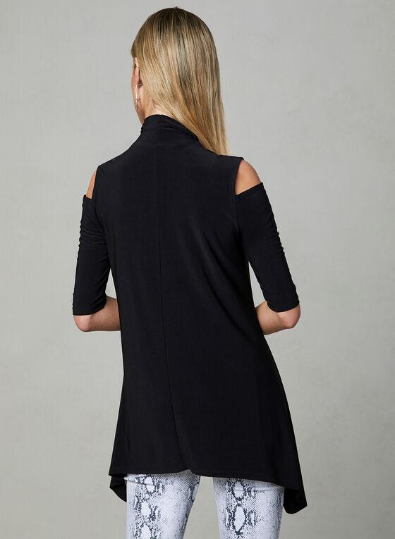 Asymmetric Cold Shoulder Top, Black, hi-res
