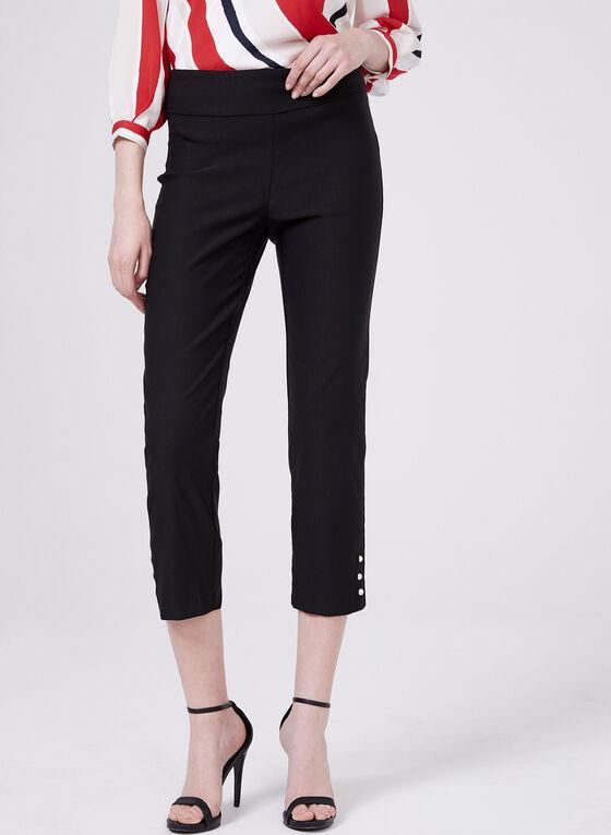 Pantalon cheville pull-on avec perles à l'ourlet, Noir, hi-res
