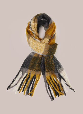 Plaid Fringed Scarf, Yellow,  Fall winter 2020, scarf, plaid, ultrasoft, fringe