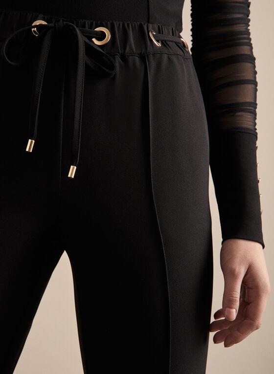 Emma Fit Drawstring Straight Leg Pants, Black