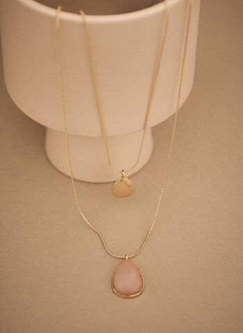 Two Tier Pendant Necklace, Pink,  spring summer 2021, jewellery, jewelry, accessories, necklace, pendant, stone, golden, chain, two tier
