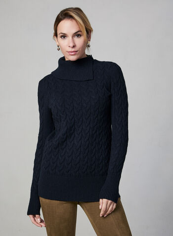 Cable Knit Turtleneck, Blue,  fall winter 2019, knit, long sleeves, soft