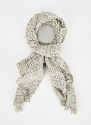Checkered Print Scarf, White, hi-res