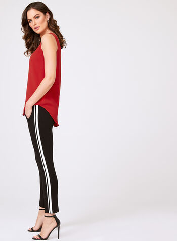 Sleeveless Layered Crepe Top, Red, hi-res