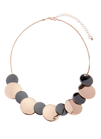 Two-Tone Disc Necklace, Grey, hi-res
