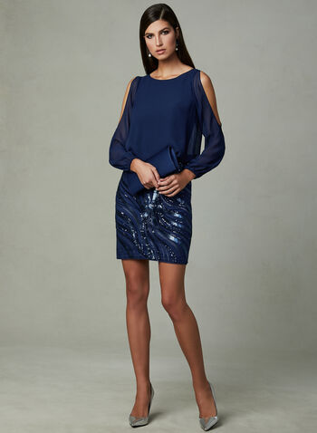 Aidan Mattox- Cold Shoulder Sequin Dress, Blue, hi-res