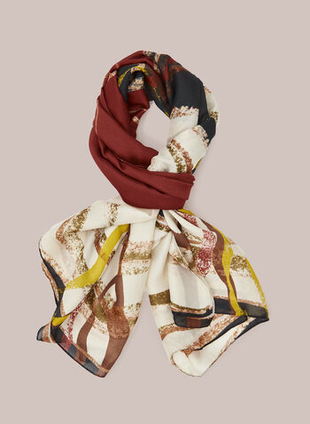 Abstract Print Lightweight Scarf, Red,  fall winter 2020, scarf, lightweight, silk, floral,