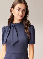 Maggy London - Short Sleeve Tie Neck Dress, Blue