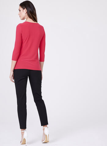 Front Knot Crepe Top , Pink, hi-res