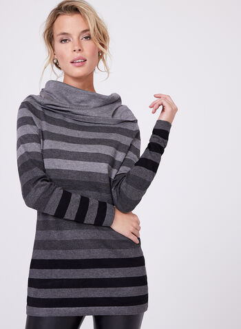 Striped Cowl Neck Tunic Sweater, Grey, hi-res