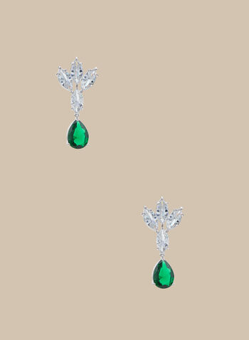 Crystal & Rhinestone Dangle Earrings, Green,  earrings, dangle earrings, crystal earring, stones, rhinestones, rhinestone earrings, spring 2020, summer 2020