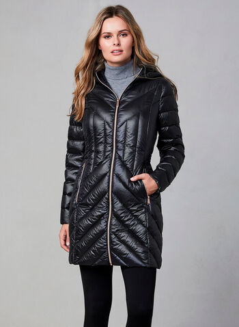 BCBGeneration - Packable Jacket, Black,  jacket, packable, long sleeves, storage bag included, silver zipper, fall 2019, winter 2019