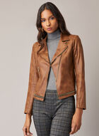 Vex - Faux Leather Zipper Detail Jacket, Brown