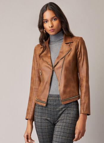 Vex - Faux Leather Zipper Detail Jacket, Brown,  jacket, faux leather, zipper detail, notched collar, fall winter 2020
