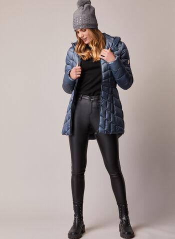 Bernardo - Manteau compressible EcoPlume™, Bleu,  automne hiver 2020, manteau, manteau d'hiver, compressible, matelassé, capuchon, EcoPlume, cintré, poches, zip, glissière, Bernardo, duvet, végane