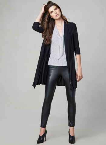 Gathered Sleeve Open Front Top, Black, hi-res