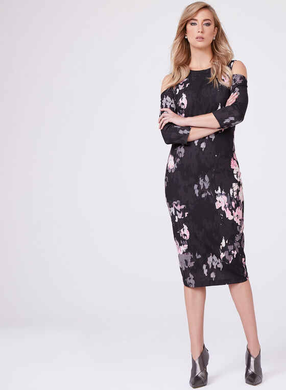 Jax - Watercolour Print Sheath Dress, Multi, hi-res