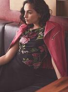 Floral Print Cap Sleeve Top, Black