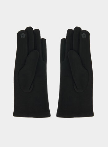 Gloves With Pu Detail , Black,  gloves, pu gloves, pu, beads, fall 2019, winter 2019
