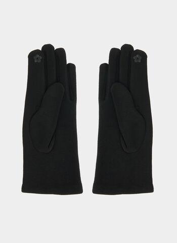 Gants à détails en similicuir, Noir, hi-res,  gants, similicuir, tissu, automne hiver 2019