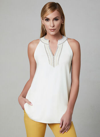 Embroidered Cleo Neck Top, Off White, hi-res,  sleeveless, spring 2019