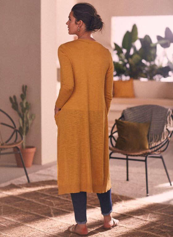 Cardigan long ouvert , Jaune