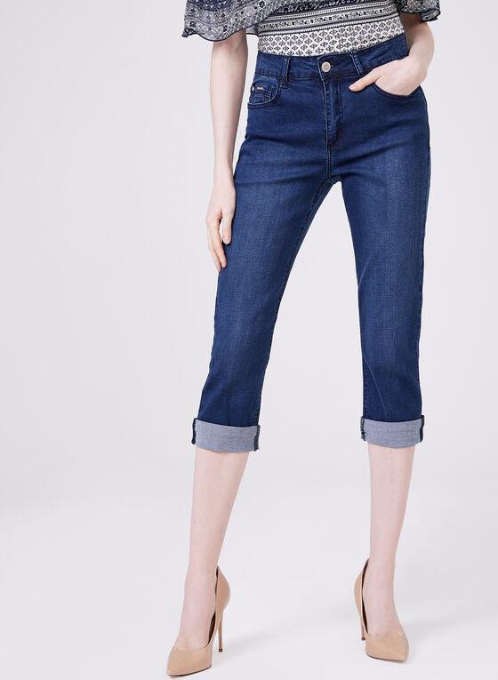 Carreli Jeans - Capri denim taille haute à revers, Bleu, hi-res
