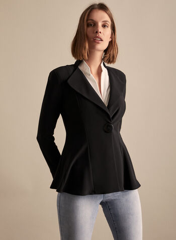 Joseph Ribkoff - Peplum Jacket, Black,  canada, Joseph Ribkoff, jacket, buttons, peplum, spring 2020, summer 2020