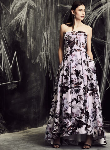 BA Nites - Floral Print High-Low Ballgown, Multi, hi-res