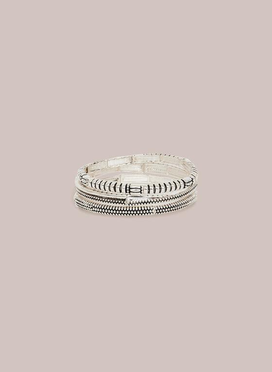 Bracelet extensible à triple rangées, Argent