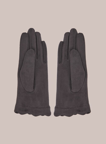 Faux Suede Gloves With Pompoms, Grey,  fall winter 2020, gloves, accessories, pompoms, scalloped, faux, suede