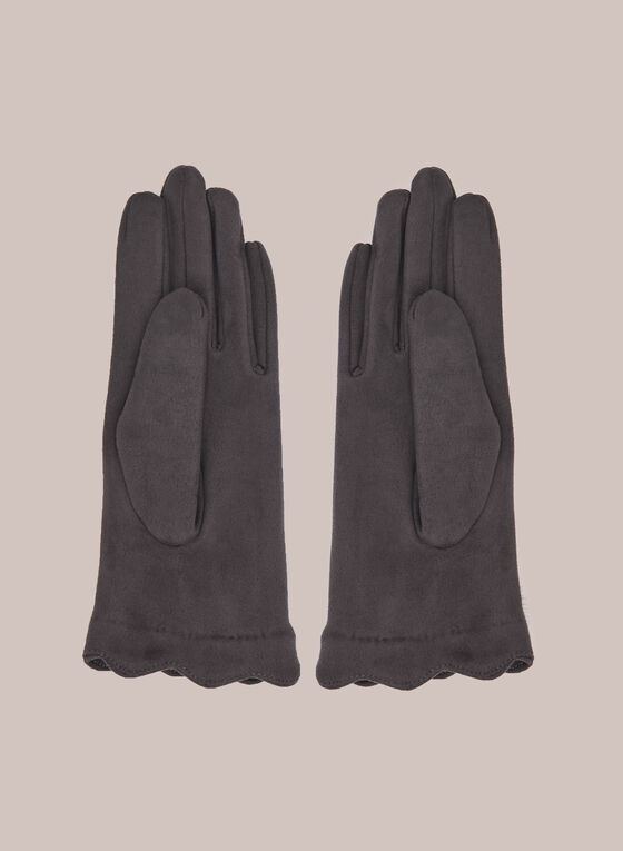 Faux Suede Gloves With Pompoms, Grey