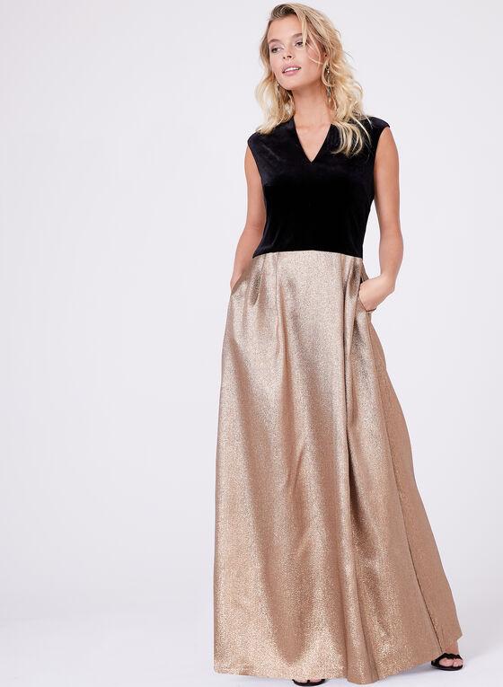 Ellen Tracy - Metallic Taffeta Gown , Gold, hi-res