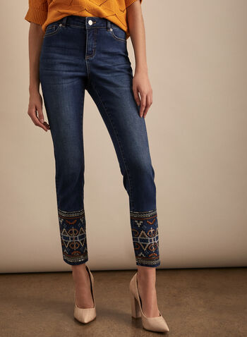 Embroidered Hem Slim Leg Jeans, Blue,  jeans, slim leg, embroidery, sequins, mid rise, stretchy, spring summer 2020
