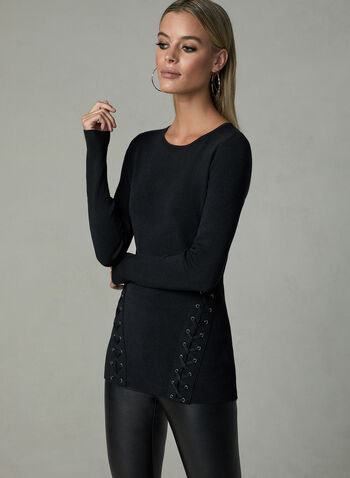 Long Sleeve Lace Up Sweater, Black, hi-res