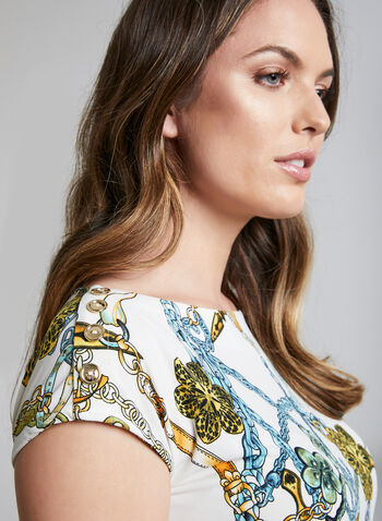 Chain Print Top, White, hi-res,  short sleeves, jersey, buttons, boat neck, spring 2019, summer 2019