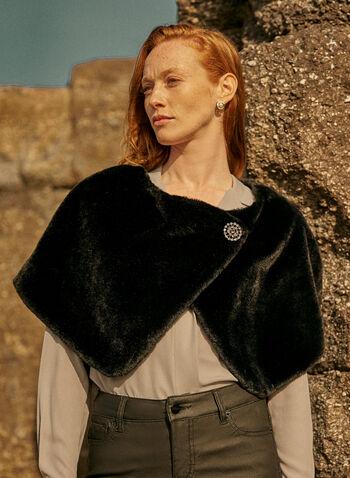Faux Fur Stole With Brooch, Black,  Fall winter 2020, faux fur, beaver, rhinestone, crystal, shawl